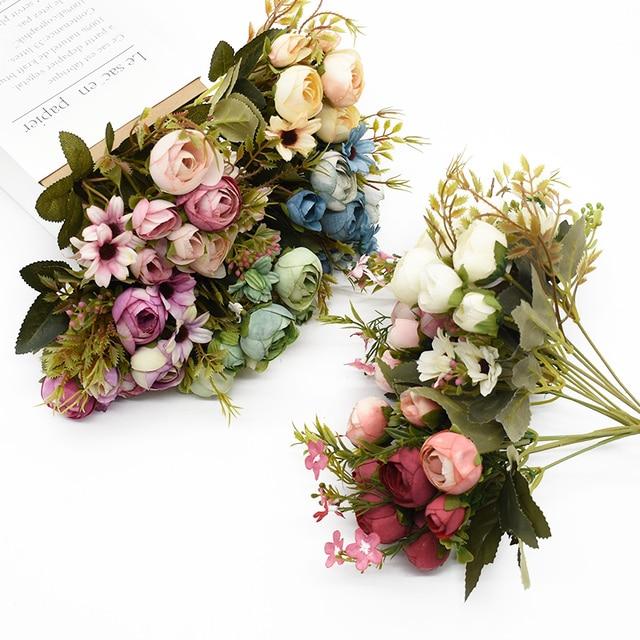Multicolor Tea Roses Vases for Home Decoration Accessories Fake Daisy Plastic Plants Wedding Decorative Artificial Flowers Cheap 1