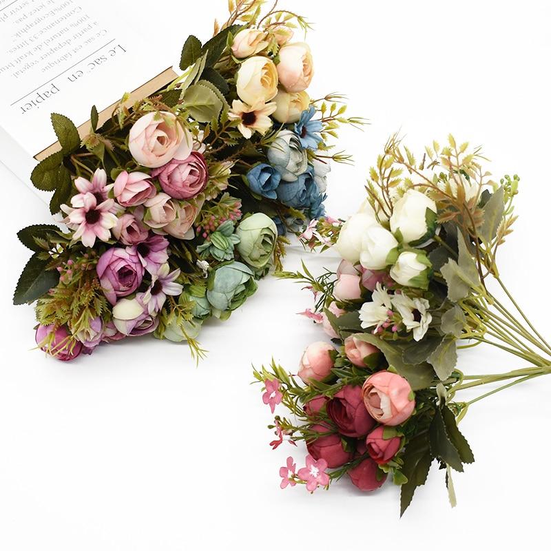 Multicolor Tee Rosen vasen für home dekoration zubehör gefälschte daisy kunststoff blume hochzeit dekorative Künstliche blumen billig