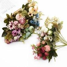 Vases de roses à thé multicolores pour décoration de maison, accessoires de fausses marguerite, fleurs artificielles décoratives en plastique pour mariage, bon marché
