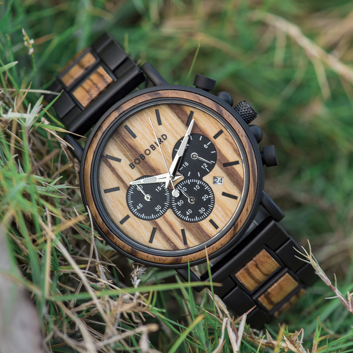 Image 5 - BOBO BIRD Wooden Watch Men erkek kol saati Luxury Stylish Wood Timepieces Chronograph Military Quartz Watches in Wood Gift Box-in Quartz Watches from Watches