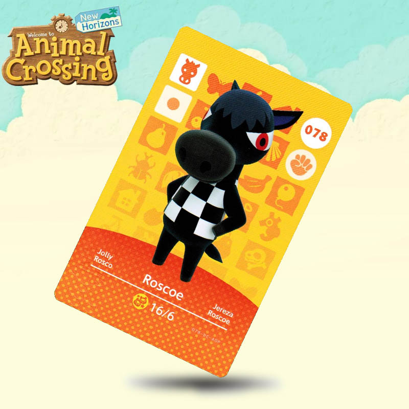 078 Roscoe  Animal Crossing Card Amiibo Cards Work For Switch NS 3DS Games