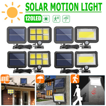 Outdoor Lighting COB 120 LED Solar Light Garden Decor Lamp Human Body Induction Light Waterproof Yard Street Light Wall Lamp 1