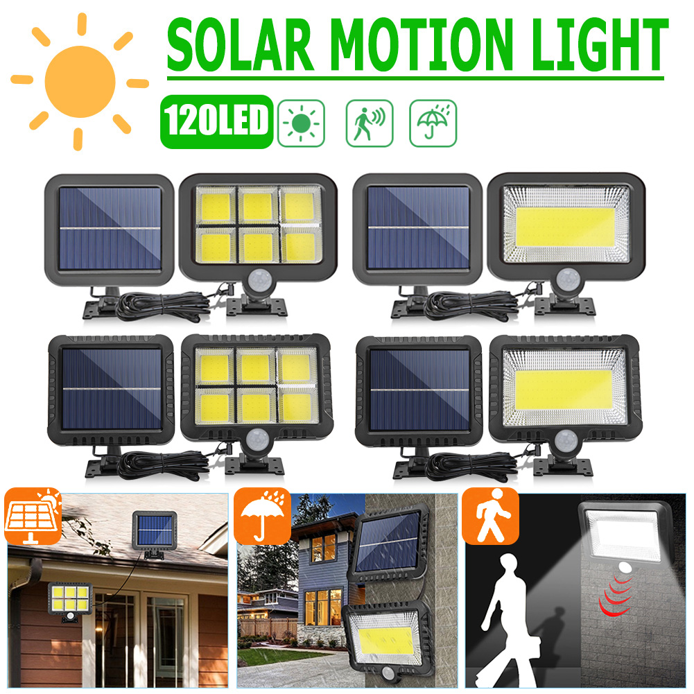 Outdoor Lighting COB 120 LED Solar Light Garden Decor Lamp Human Body Induction Light Waterproof Yard Street Light Wall Lamp