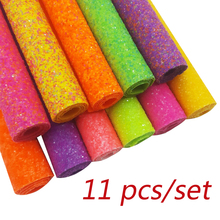 11pcs 22*30cm Chunky Glitter Fabric Faux Leather Sheets Sequin Gold Synthetic Hair bow DIY Accessories