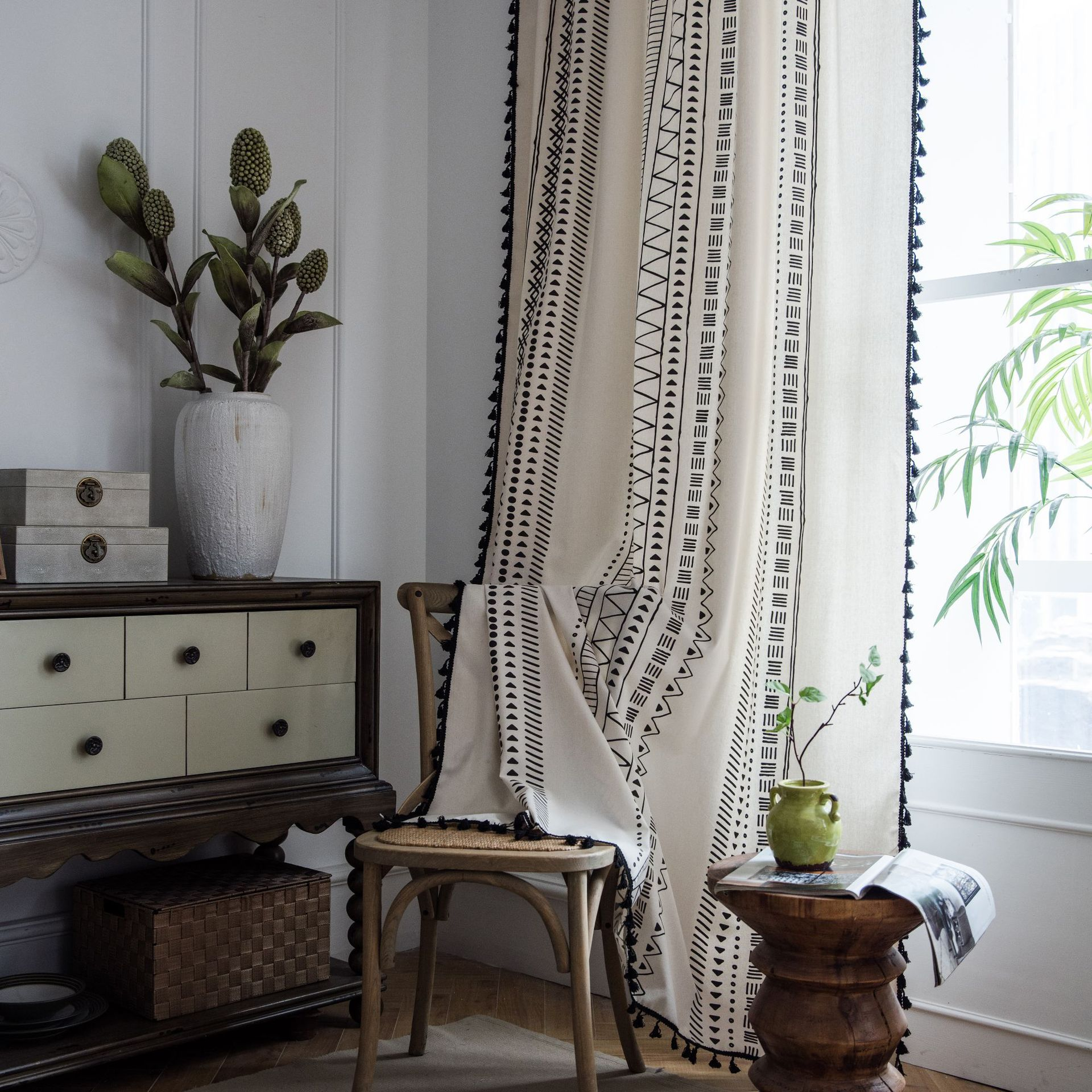 Modern White linen curtains  for girls living room bedroom windows rustic nordic geometric curtain readymade curtains