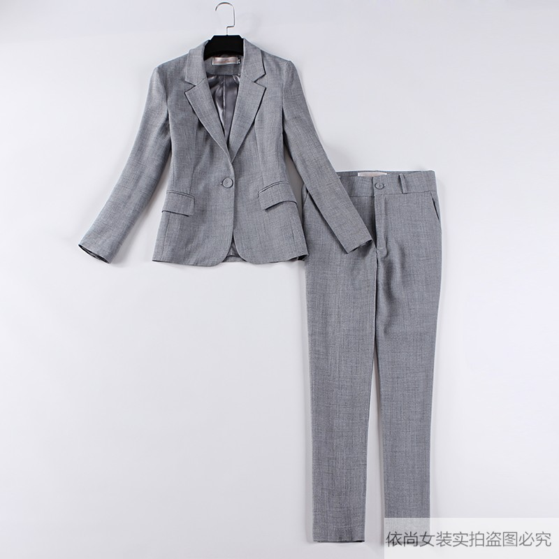 Women's business work suit Autumn new long-sleeved gray blazer Pants suit Women's office two-piece 2019 high quality