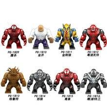 PG8139 8PCS Set  Building Blocks Super Heroes 7CM Big Size Venom Deadpool Tree Man Hulk Toxin Kingpin Wolverine Kids Gift Toys