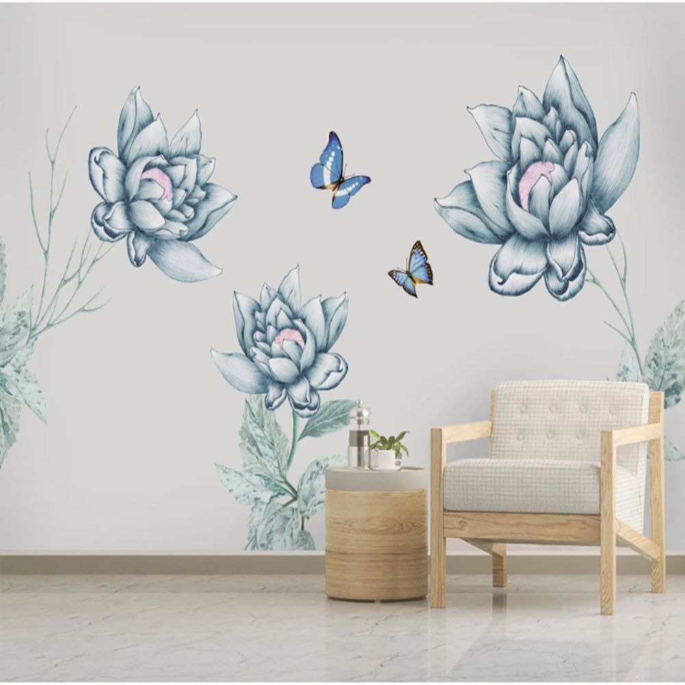 Milofi Custom Do Not 3D European Retro Nostalgic Hand Painted Flower Large TV Background Wallpaper Mural