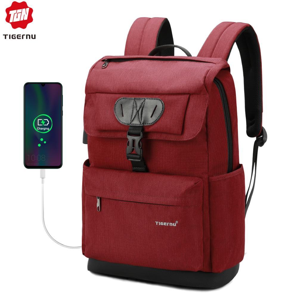 Tigernu Fashion Women Red USB Recharging School Bag Backpack For Teenagers Girls Anti Theft Female Male Mochila 15.6 Laptop Bag