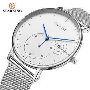 Image 1 - STARKING פשוט שעונים גברים פלדה אל חלד כסף Mesh להקת שעון זכר קוורץ שעוני יד עם תאריך אוטומטי תצוגת Relogios 3ATM