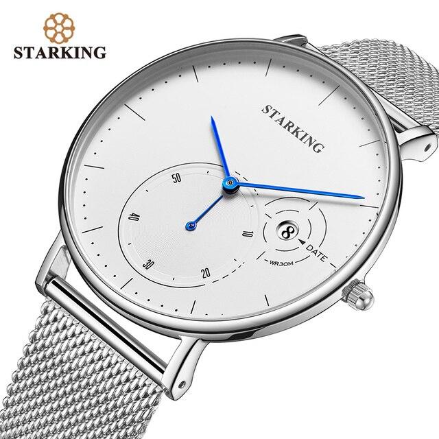 STARKING פשוט שעונים גברים פלדה אל חלד כסף Mesh להקת שעון זכר קוורץ שעוני יד עם תאריך אוטומטי תצוגת Relogios 3ATM