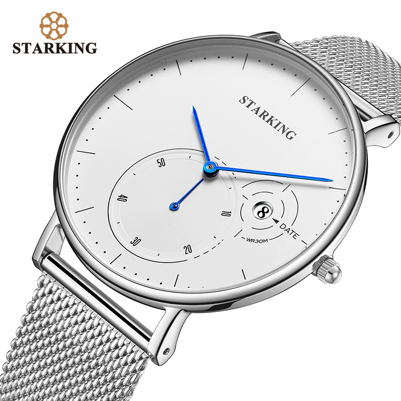 STARKING Simple Watches Men Steel Stainless Silver Mesh Band Watch Male Quartz Wristwatches With Auto Date Display Relogios 3ATM