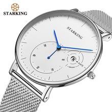 STARKING Simple นาฬิกาผู้ชายสแตนเลสนาฬิกาตาข่ายเงินชายนาฬิกาข้อมือควอตซ์อัตโนมัติวันที่แสดง Relogios 3ATM