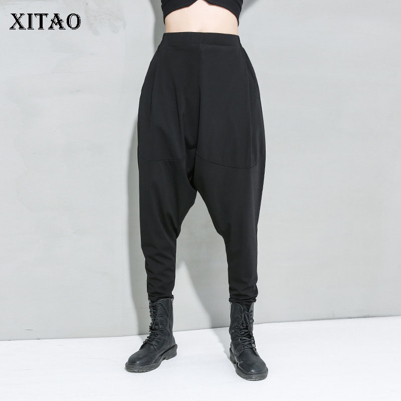 XITAO 2020 Spring New Plus Size Harem Pants Streetwear Sweatpants Elasticated Waist Personality Women Pants Tide Brand DMY3496