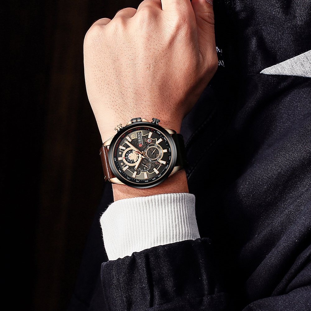 NEW CURREN Fashion Sport Watch Men Blue Top Brand Luxury Military Leather Wrist Watches Man Clock Casual Chronograph Wristwatch