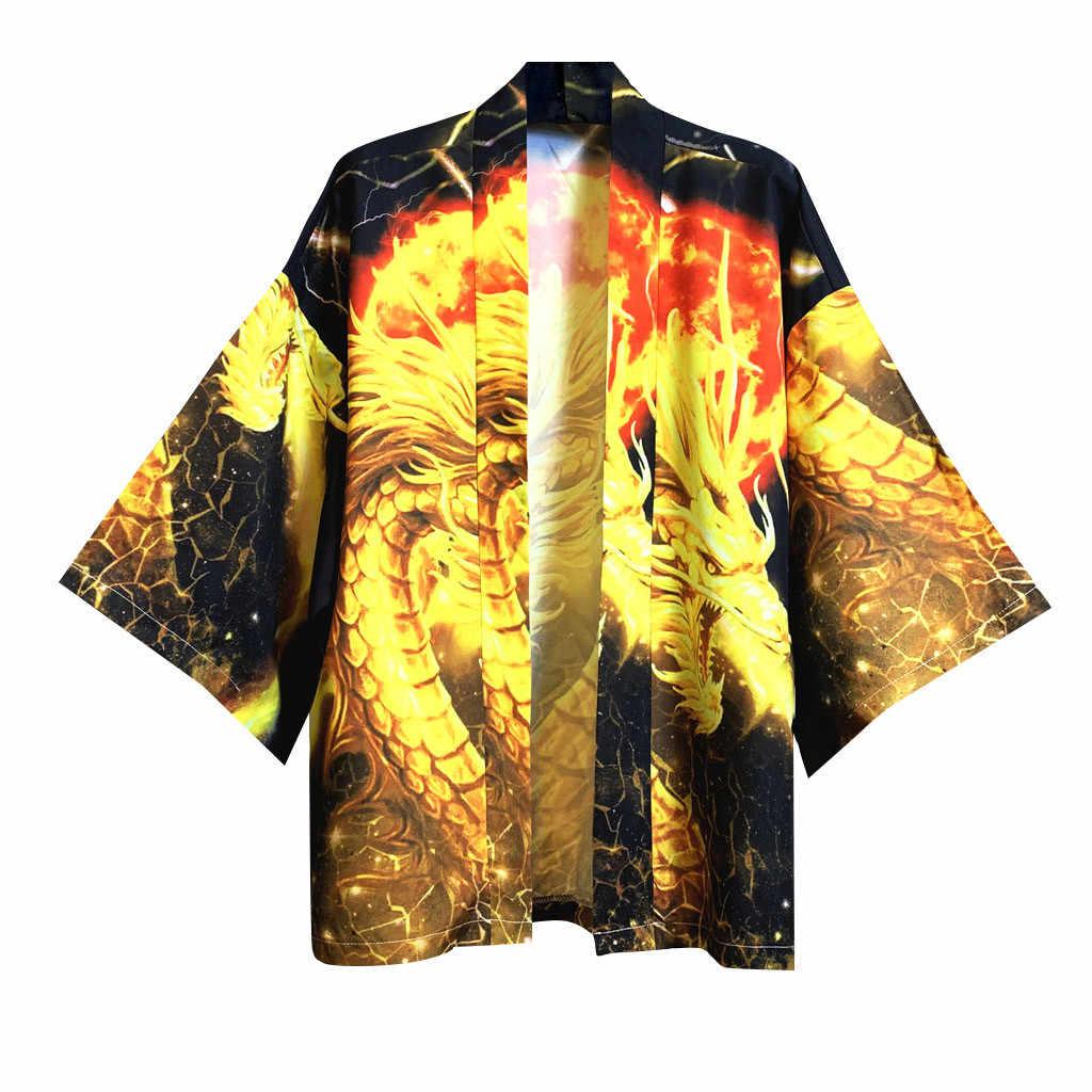 Feitong Kimono Gli Uomini Giapponesi Streetwear Moda Gragon Stampa Top Camicetta Kimono Kimono Giapponese Tradizionale Abbigliamento