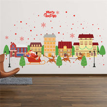Merry christmas Stickers Wall Affixed With Decorative Wall Window Decoration Stickers Muraux Pour Enfants Chambres 30OCT16(China)