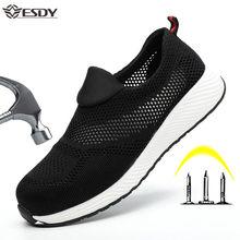 Летние дышащие защитные ботинки для мужчин и женщин, легкая стальная нескользящая обувь для защиты от ударов, рабочие ботинки