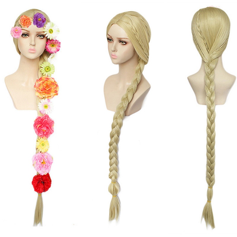 120cm/48inch Halloween Women Princess Tangled Rapunzel Cosplay Wig Blonde Braid Hair Role Play Golden Braided Hair And Flowers