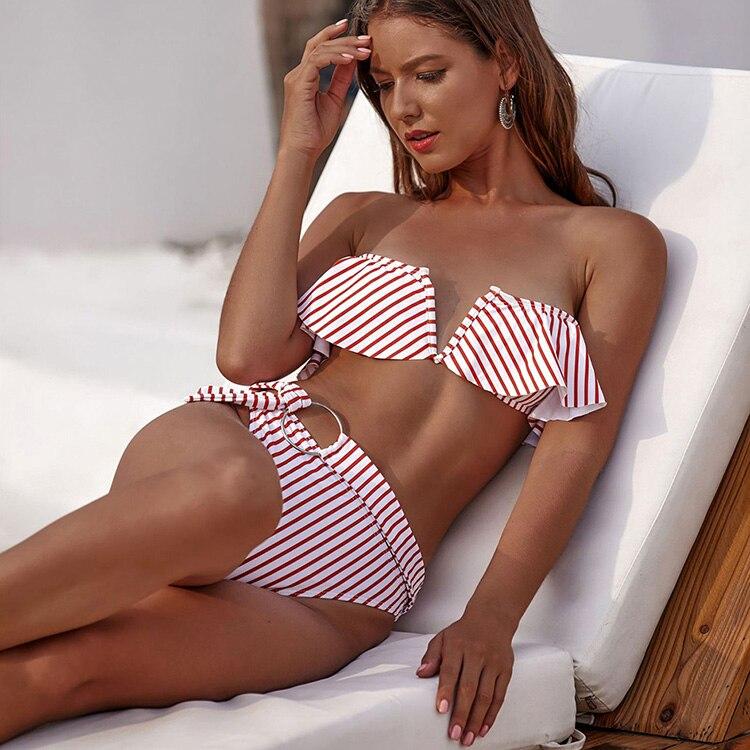 Sexy Striped Ruffled Bikini 2020 Women Bandeau Push Up Swimwear Women Swimsuit High Waist Bikini Set Swim Suit for Bathing Suits 2