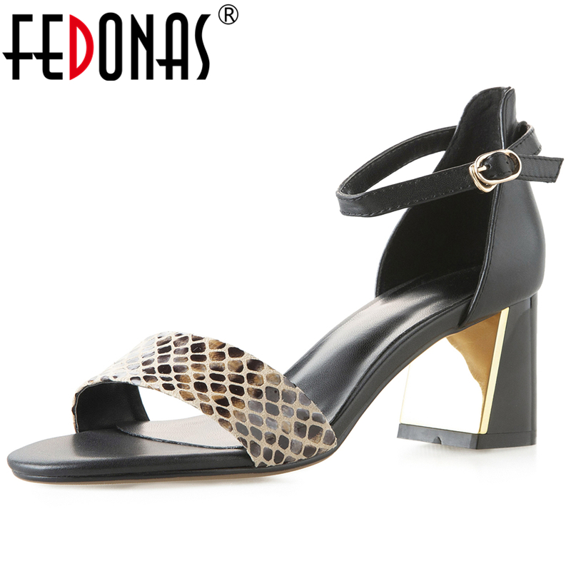 FEDONAS Summer New Euro Style Fashion Casual Women Cow Leather Sandals Mixed Colors Open Toe Thick Heel Ankle Strap Shoes Woman