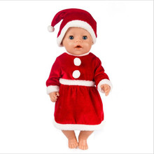 Doll Clothes Born New Baby Fit 18 inch 40-43cm Doll Red three-piece fluffy shawl Christmas dress suit For Baby Birthday Gift