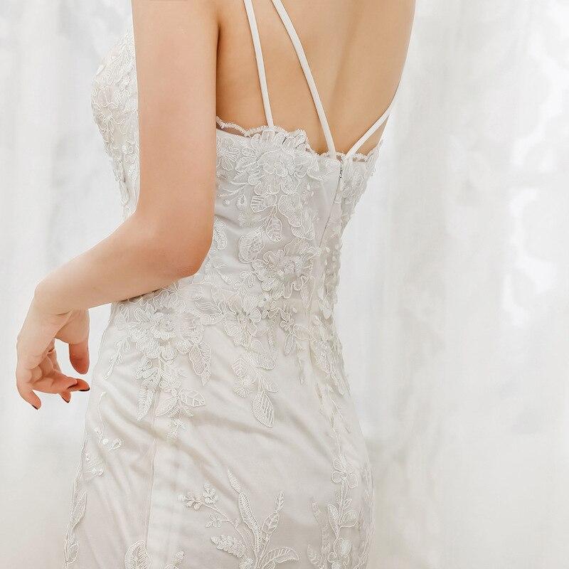 Sexy Mermaid Kant Bruidsjurken Spaghettibandjes V hals Bridal Wedding Gown Aangepast Formaat Kleur - 5