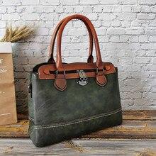 IMYOK Vintage bags Women Handbag Genuine Leather Female Shoulder Bag M
