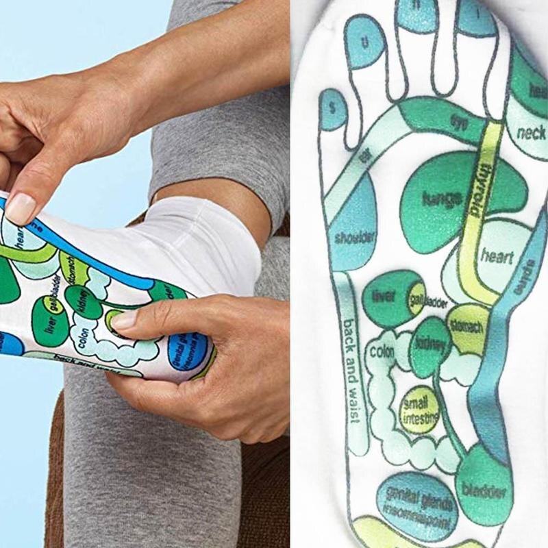 Носки для акупрессуры, ФИЗИОТЕРАПЕВТИЧЕСКИЙ массаж, для облегчения усталости ног, рефлексотерапевтические носки, Иллюстрация на английско...