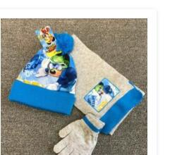 1set Star Mickey Knit Beanie Hat Children Christmas Winter Knitted Scarf Gloves Hat Set 2-8Y