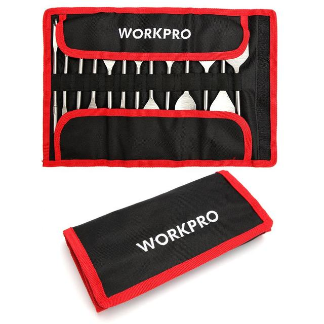 WORKPRO 13-Piece Spade Drill Bit Set in Metric Paddle Flat Bits for Woodworking,Nylon Storage Pouch Included 2