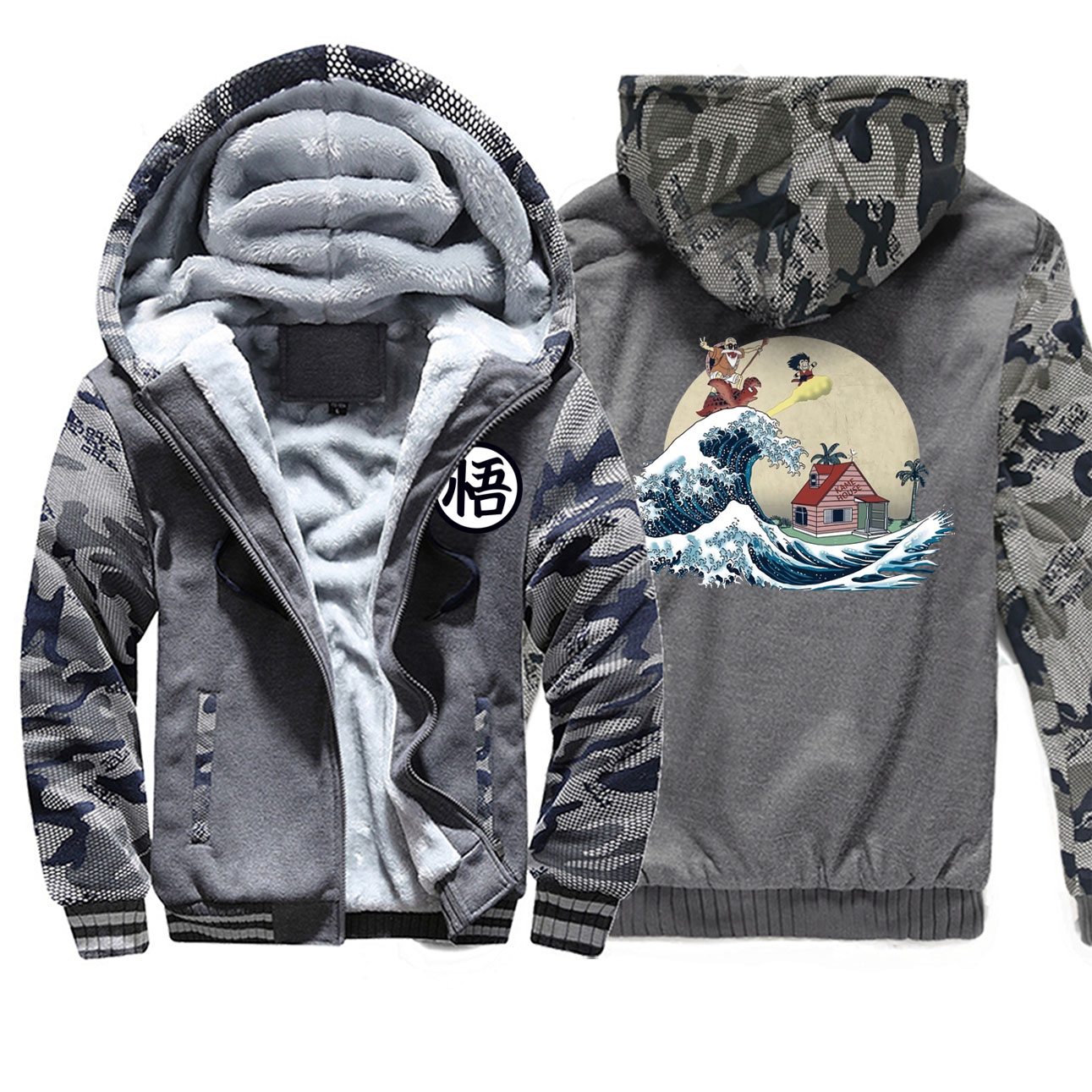 Men Thick Winter Fleece Camo Warm Jacket Dragon Ball Baseball Great Retro Wave Coats Militray Japan Anime Sportswear Jackets
