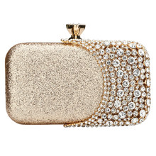 Hard Surface Rectangle Box Bags Evening Women Rhinestone Glitter Clutch Wedding Banquet Clutches Fashion Luxury Pouch