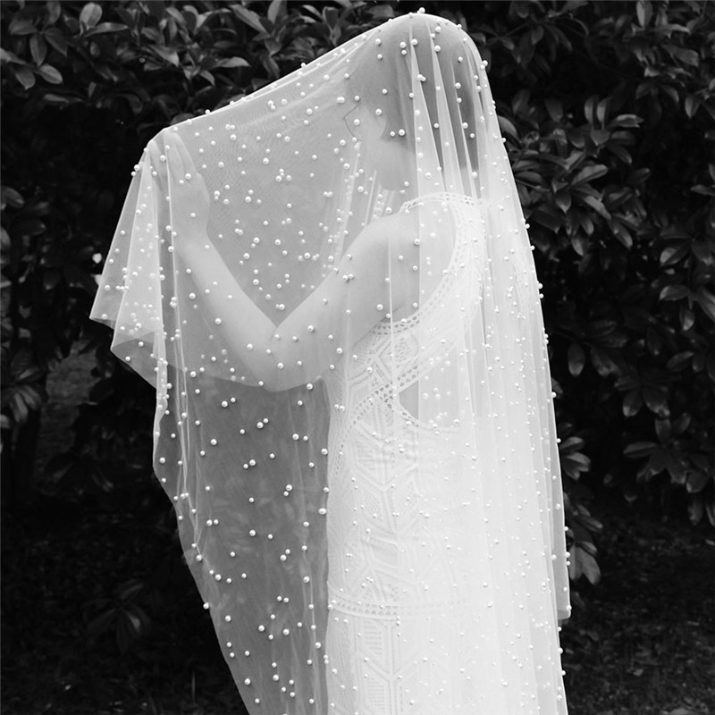 Long Pearls Wedding Veil One Layer 3 Meters Bridal Veil WITHOUT Comb 300cm Bride Veil Wedding Accessories