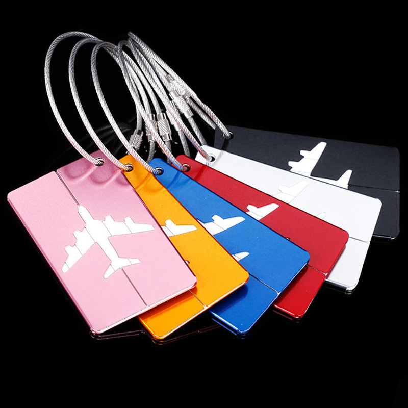 Aluminium Luggage Tag Travel Accessories Baggage Name Tags Suitcase Address Label Holder Organizer For Travel Luggage Strap