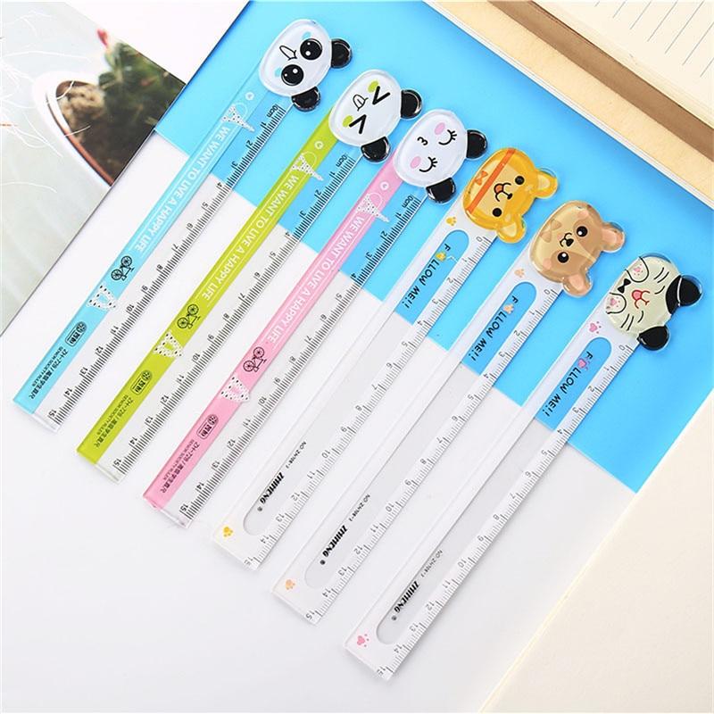 1PCS Cartoon Animal Ruler 15cm Korean Stationery Student Cute Measure Tool Children Plastic Transparent Painting Straight Rulers