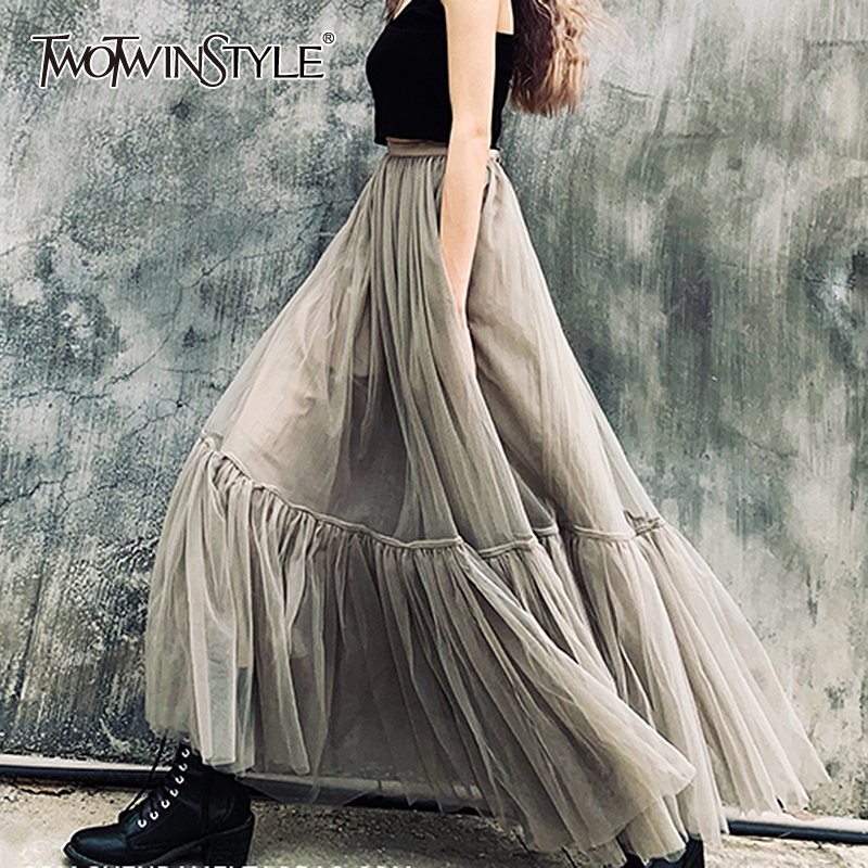 TWOTWINSTYLE Elegant Patchwork Skirt For Women High Waist Plus Size A Line Skirts Female Spring Fashion New Clothing 2020
