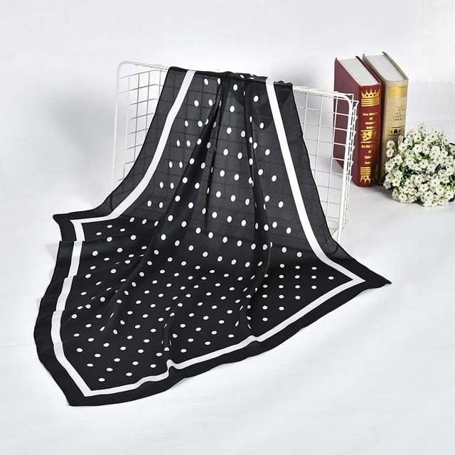 נשים מנוקדת מודפס רך רב תכליתי hankerchief צעיף femme מוסלמי חיג אב לעטוף בנדנה חיקה משי כיכר ראש צעיף