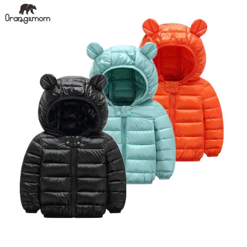 Милая куртка для маленьких девочек Детский пуховик для мальчиков, светильник с ушками, толстовка с капюшоном, весенняя одежда для девочек О...