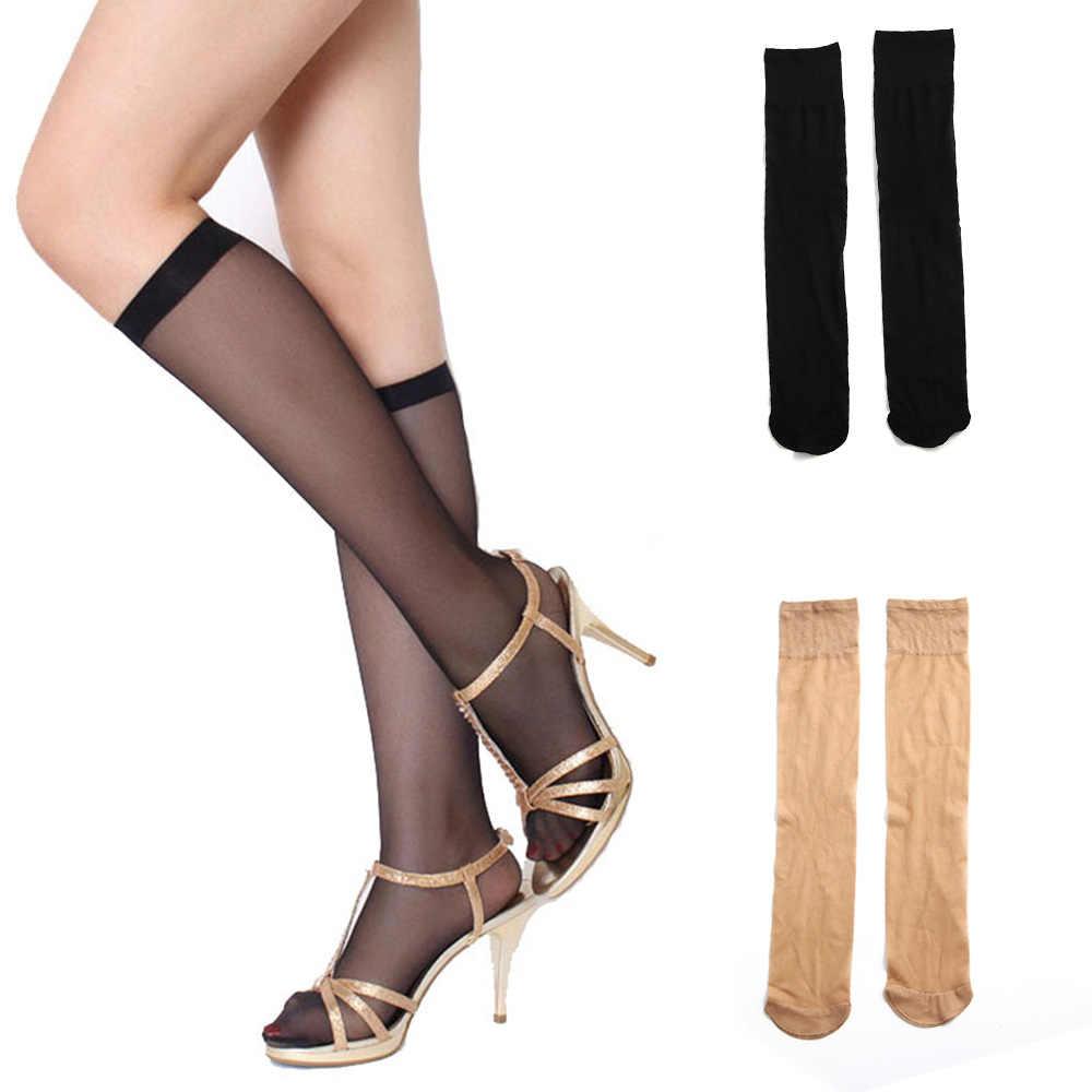 新 1 ペアアクリルスパンデックス黒ヌード無地夏の女性の女性の膝高透明ロング腿の高タイツストッキング