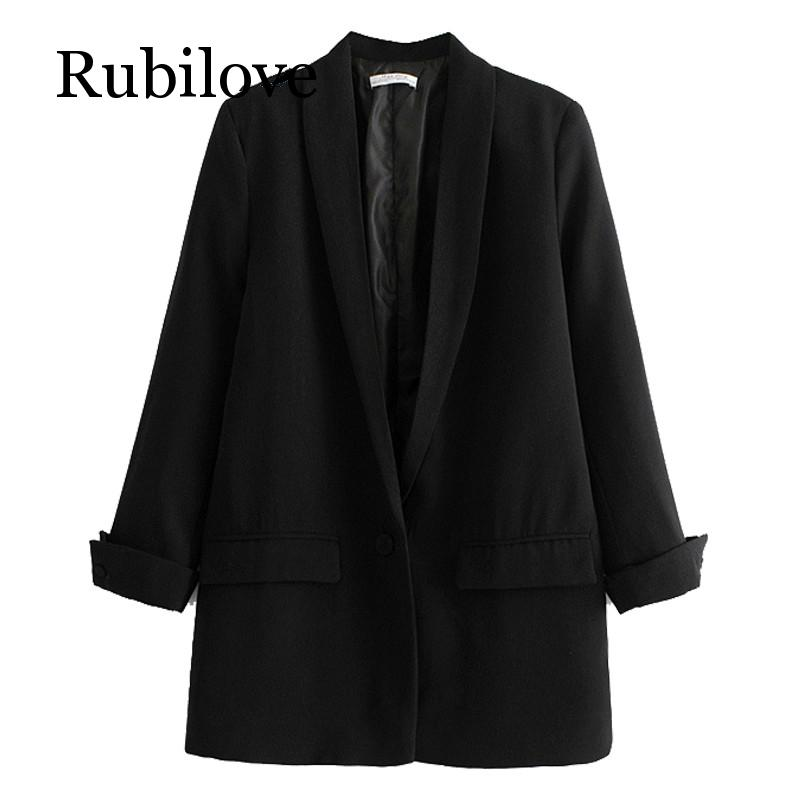Rubilove Women Solid Color Long Blazer Jacket Pleated Sleeve Loose Coat Office Lady Work Style Small Suit Single Button Blazer