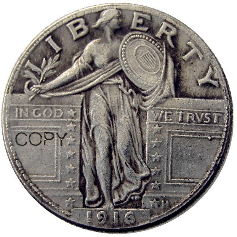 Us 1916 em pé liberty quarter prata chapeado cópia moeda