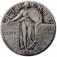 Moneda de copia chapada en plata, cuarto de dólar con libertad de pie, US 1916