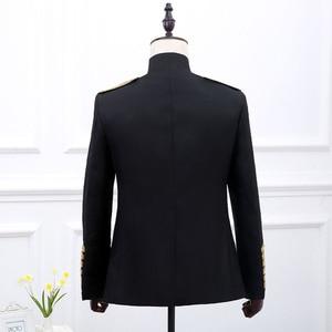 Image 4 - Disfraz de Príncipe Steampunk con cadenas militares para hombre, chaqueta de Halloween, chaqueta, chaqueta de cantante Pop Stars, Blazer, traje real, negro