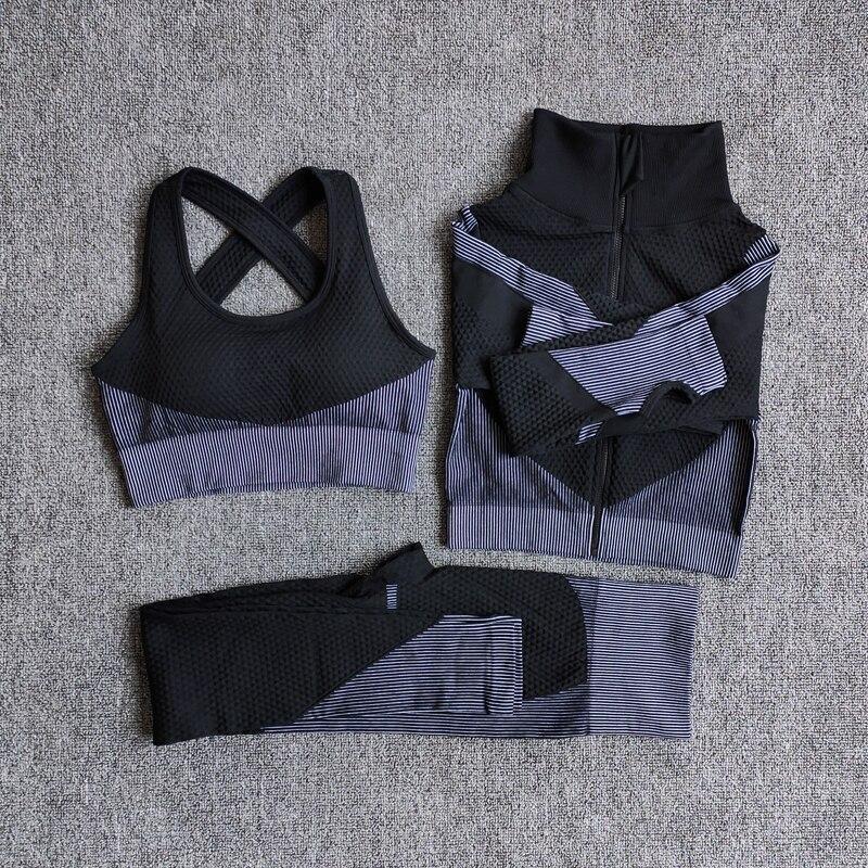 3PcsSetGray - Women Seamless Fitness Yoga Suit Color-blocked Sportwear