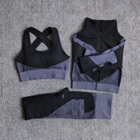 3PcsSetGray - Women Seamless Fitness Yoga Suit Color-blocked Sportwear
