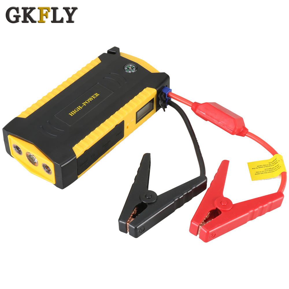 GKFLY arrancador de batería de coche de alta capacidad 600A dispositivo de arranque banco de energía portátil 12V Cables de arranque Auto cargador de batería