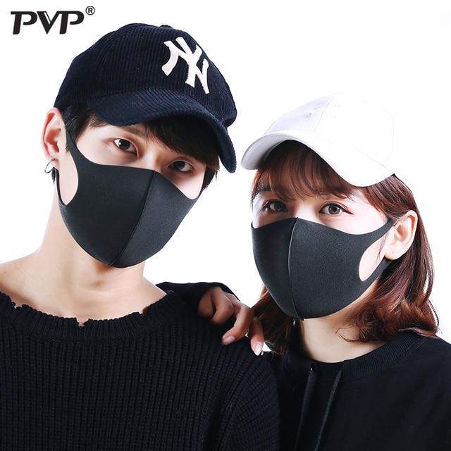 PVP 10/3Pcs Black Mouth Mask Breathable Unisex Sponge Face Mask Reusable Anti Pollution Face Shield Wind Proof Mouth anti-pollen 4