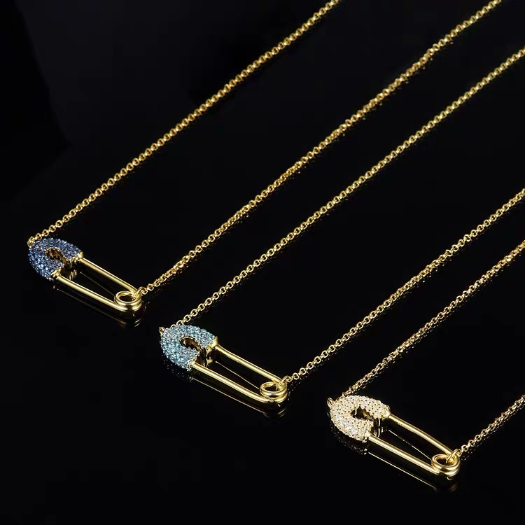 Fashion Unique Paper clip Safety pin Pendent Necklace Bling Tiny CZ Punk Collar Necklace Jewelry Accessoris