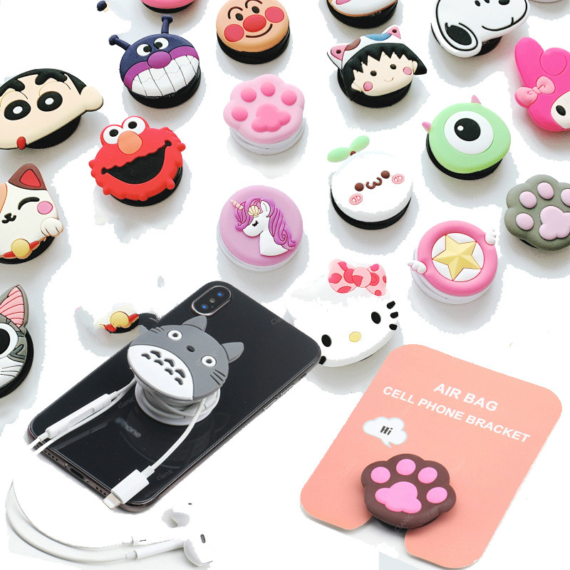 Cute Cartoon Cable Organizer Bobbin Winder Air Bag Cell Phone Bracket Cable Management Marker Holder For Iphone 7 8 XR XS Xiaomi